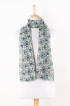 SVEZE Flower Print Linen Cotton Scarf - Blue - Alternate Drape
