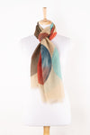 SVEZE Big Circle Print Linen Cotton Scarf - Beige Multicoloured - Regular Drape