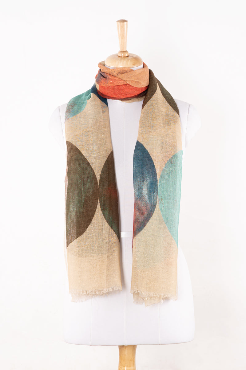 SVEZE Big Circle Print Linen Cotton Scarf - Beige Multicoloured - Alternate Drape