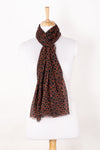 Triangle Print Cotton Modal Scarf - Orange Black