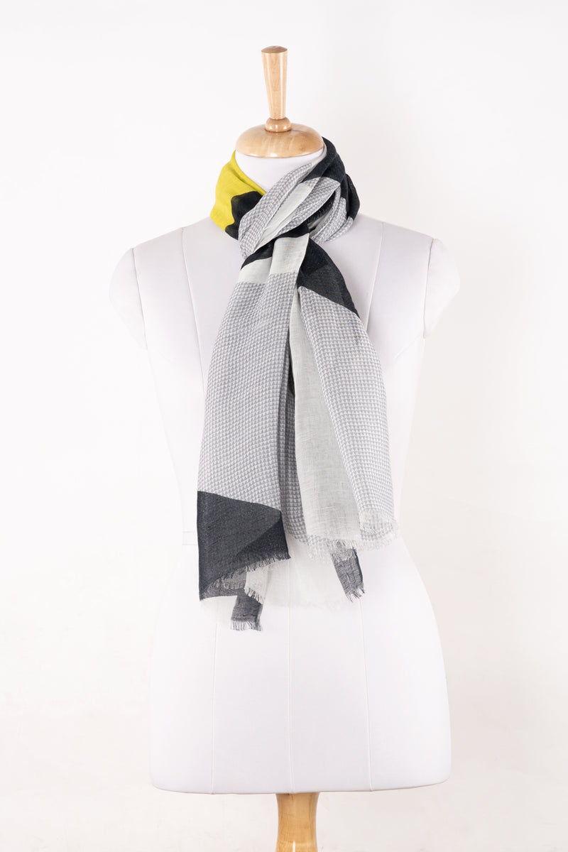Sveze - Abstract Geometry Print Linen Cotton Scarf - Grey Black Lime - Alternate Drape