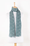 Sveze - Leaf Print Linen Cotton Scarf - Teal - Regular Drape