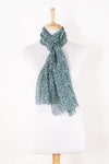 Sveze - Leaf Print Linen Cotton Scarf - Teal - Alternate Drape