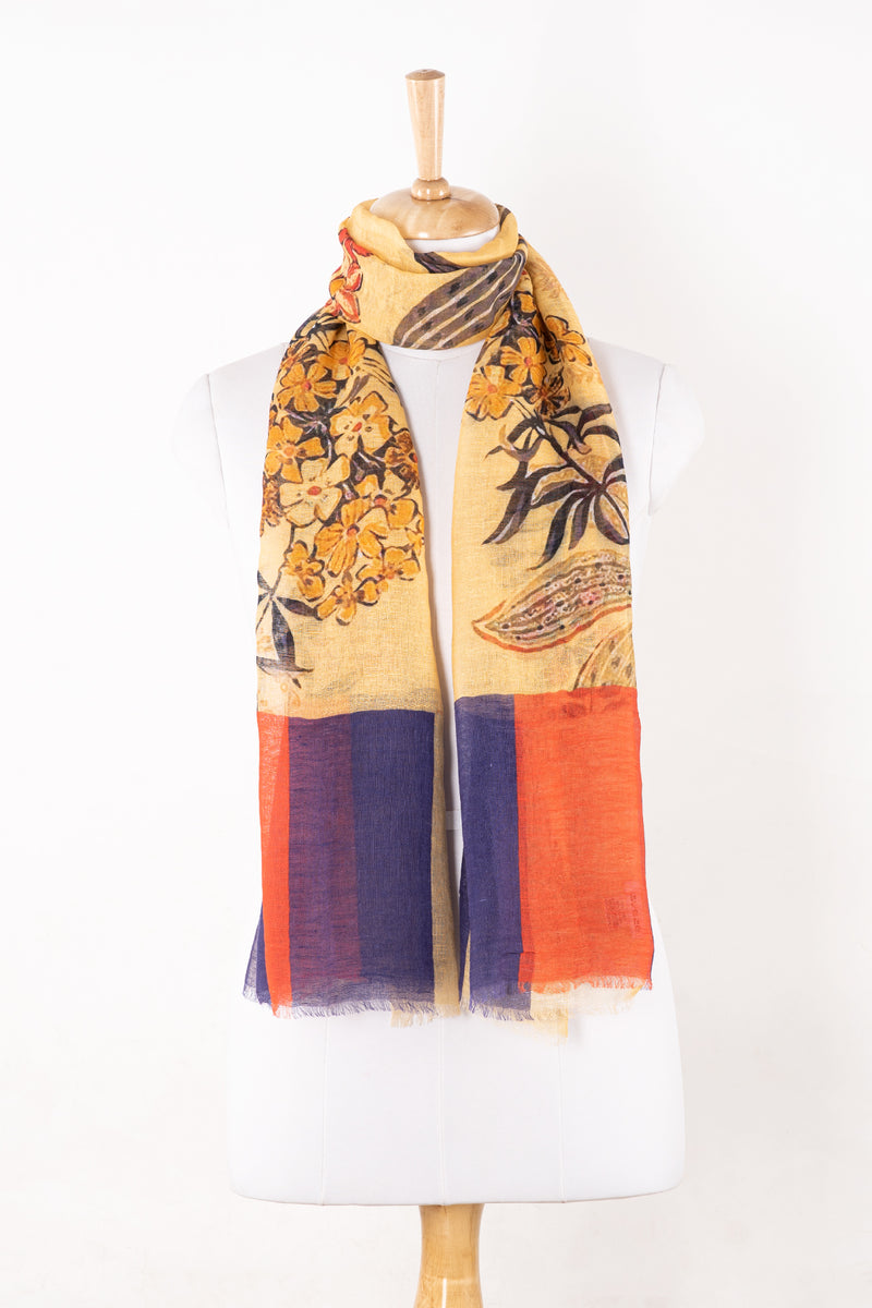 SVEZE Garden Floral Print Linen Cotton Scarf - Yellow Multi - Alternate Drape