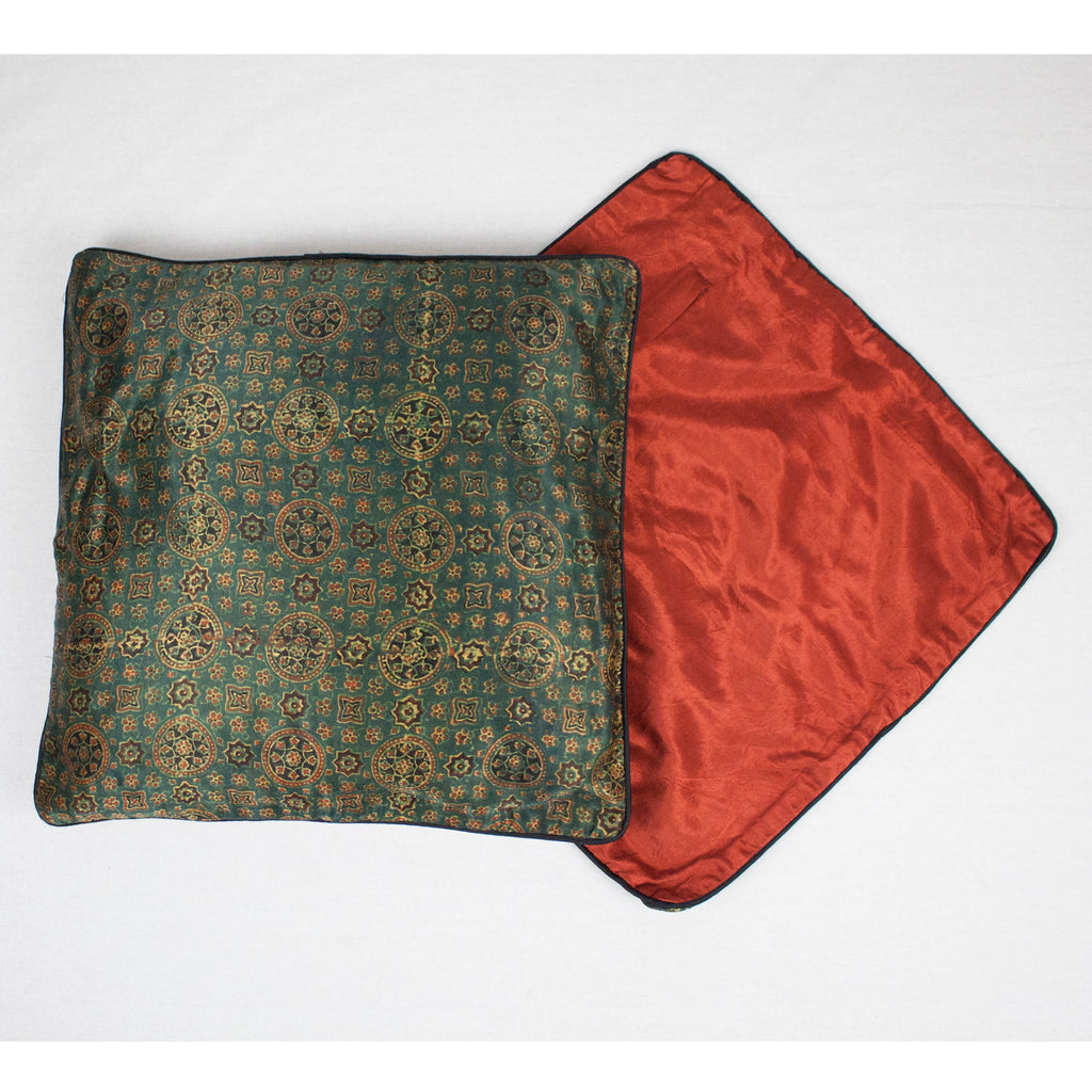 Geometric Floral Hand Block Print Mashru Silk Cushion Cover - Green Red