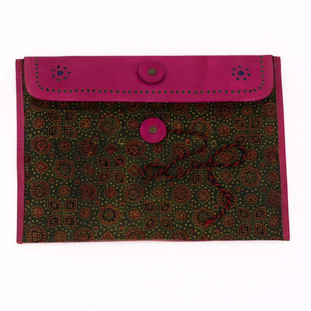 Hand-carved Leather iPad Case with Hand-block Ajrakh Print - Pink Green