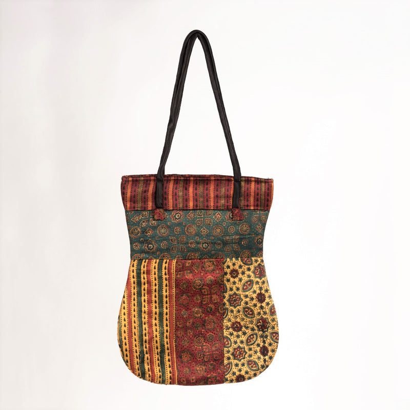 Ajrakh Hand-block Print Mix Shoulder Bag - Red Yellow Green