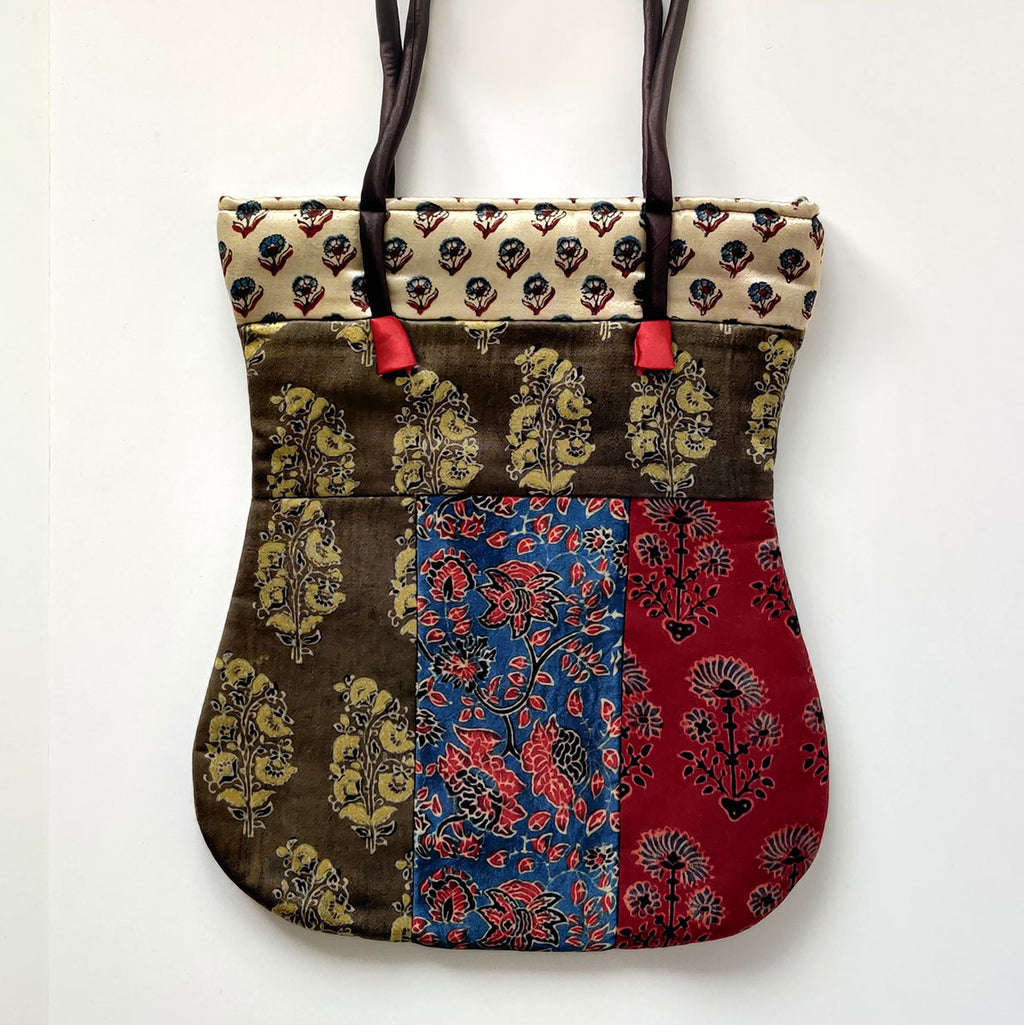 Ajrakh Hand-block Print Mix Shoulder Bag - Red Blue Mehndi
