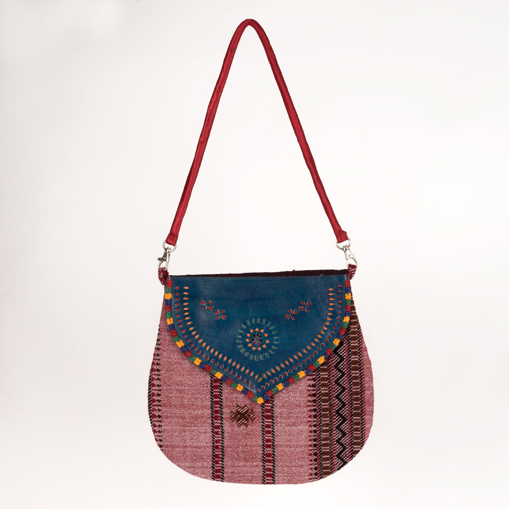 Handcrafted Bag with Hand-carved Leather Flap - Red Blue