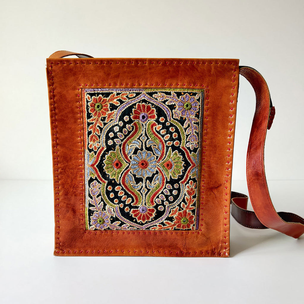 Intricate Embroidery Camel Leather Handbag