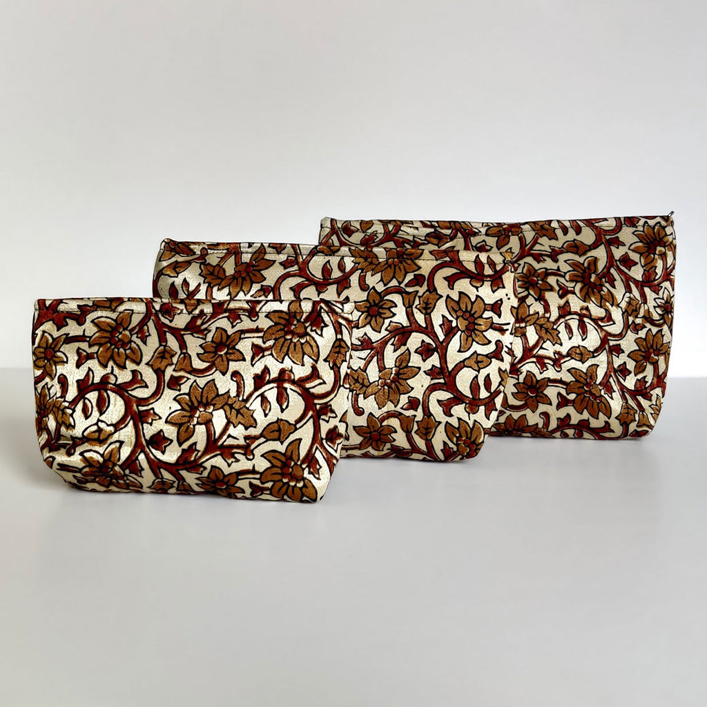 Ajrakh Hand-block Print Pouch Set of 3 - Flower Vine Brown Gold