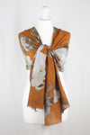Flower Print Merino Wool Scarf - Orange White
