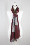Flower Print Merino Wool Scarf - Crimson White