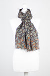 All Over Paisley Print Merino Wool Scarf - Brown Navy