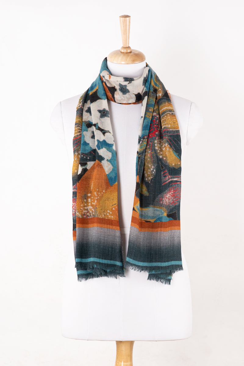 SVEZE Orange Lily Bouquet Merino Wool Scarf - Orange Multi - Alternate Drape