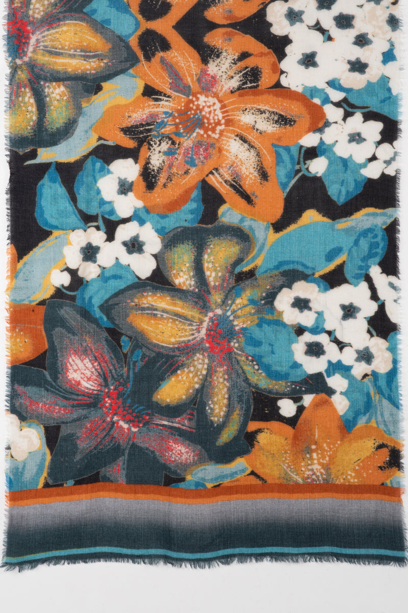 SVEZE Orange Lily Bouquet Merino Wool Scarf - Orange Multi - Flat Look