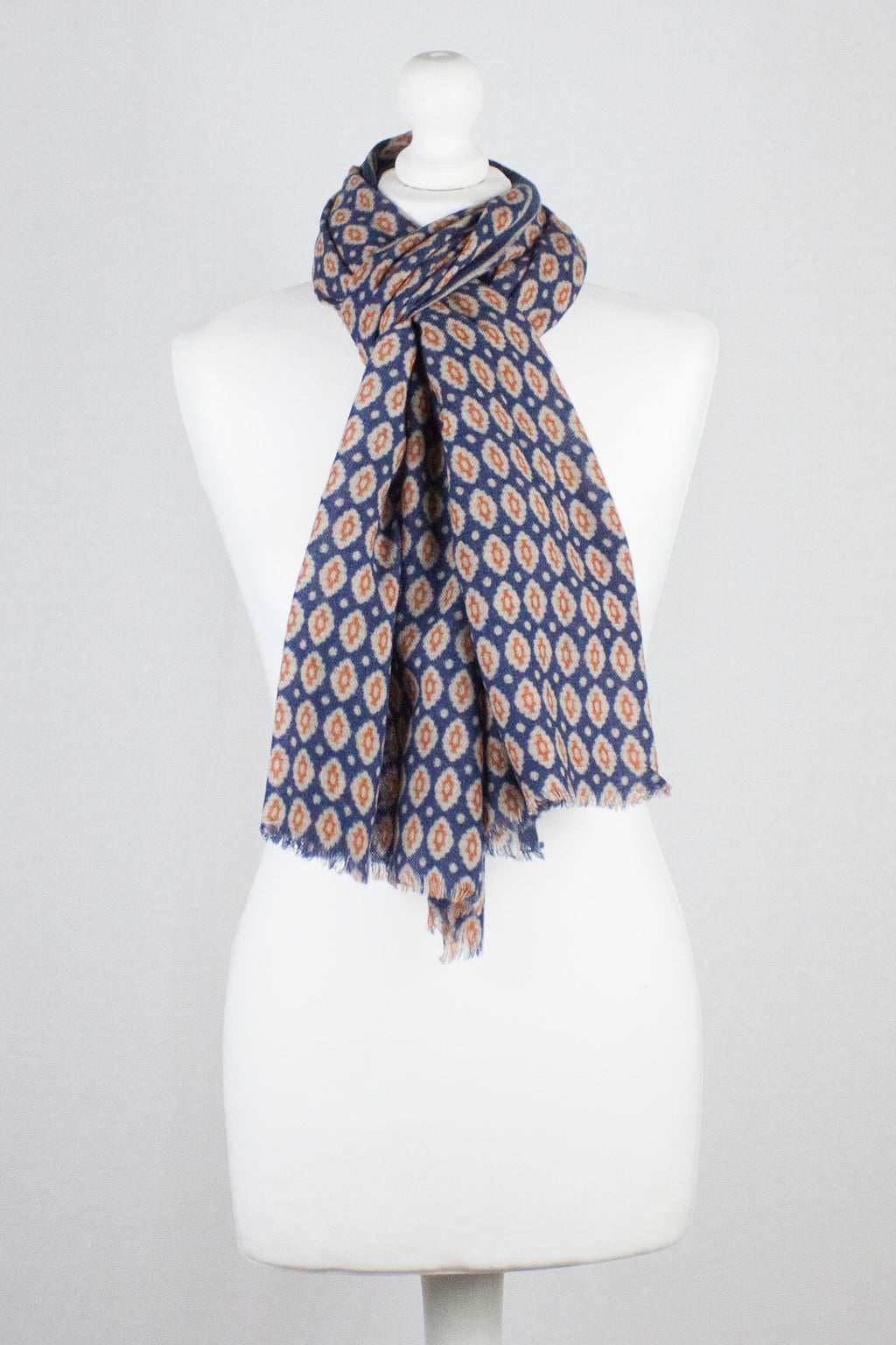 Diamond Tile Print Merino Wool Scarf - Navy Orange