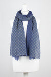 Bubble Flower w/ Ombre Print Merino Wool Scarf - Blue