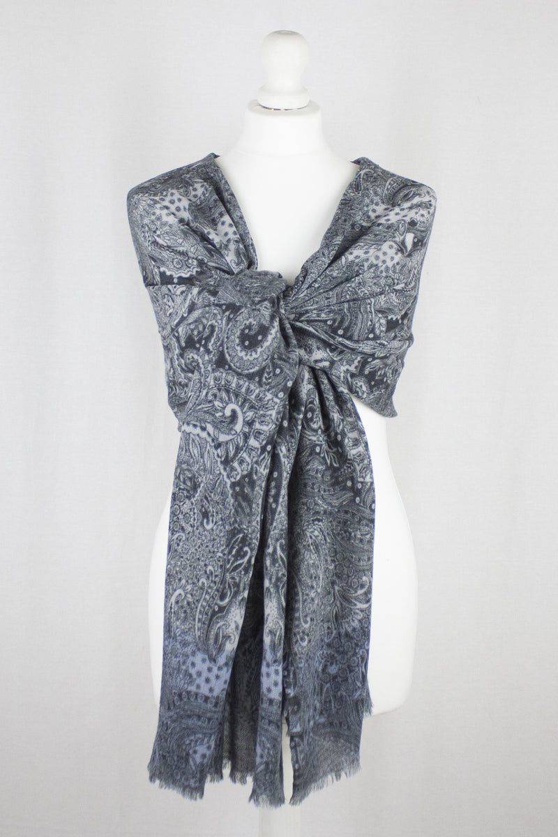 Intricate Leaf and Flower Merino Wool Scarf - Blue
