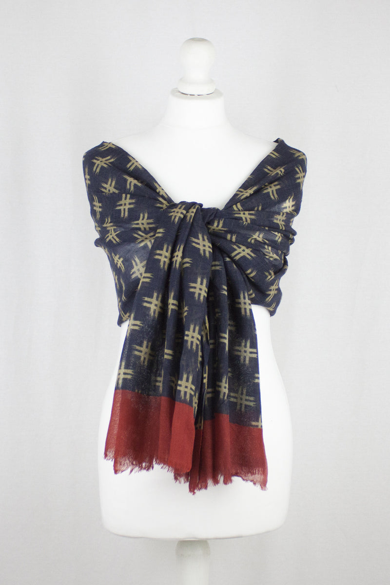 Hash Tag Merino Wool Scarf - Navy Red