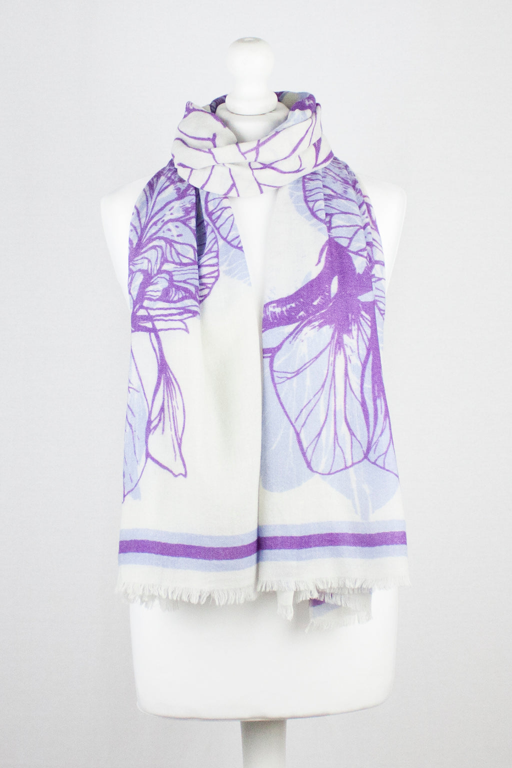 Cynthia Floral Print Merino Wool Scarf - Off White Violet