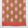 Rangoli Art Print Merino Wool Scarf - Brown Red