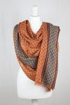 Diamond Net Print w/ Side Border Merino Wool Scarf - Orange