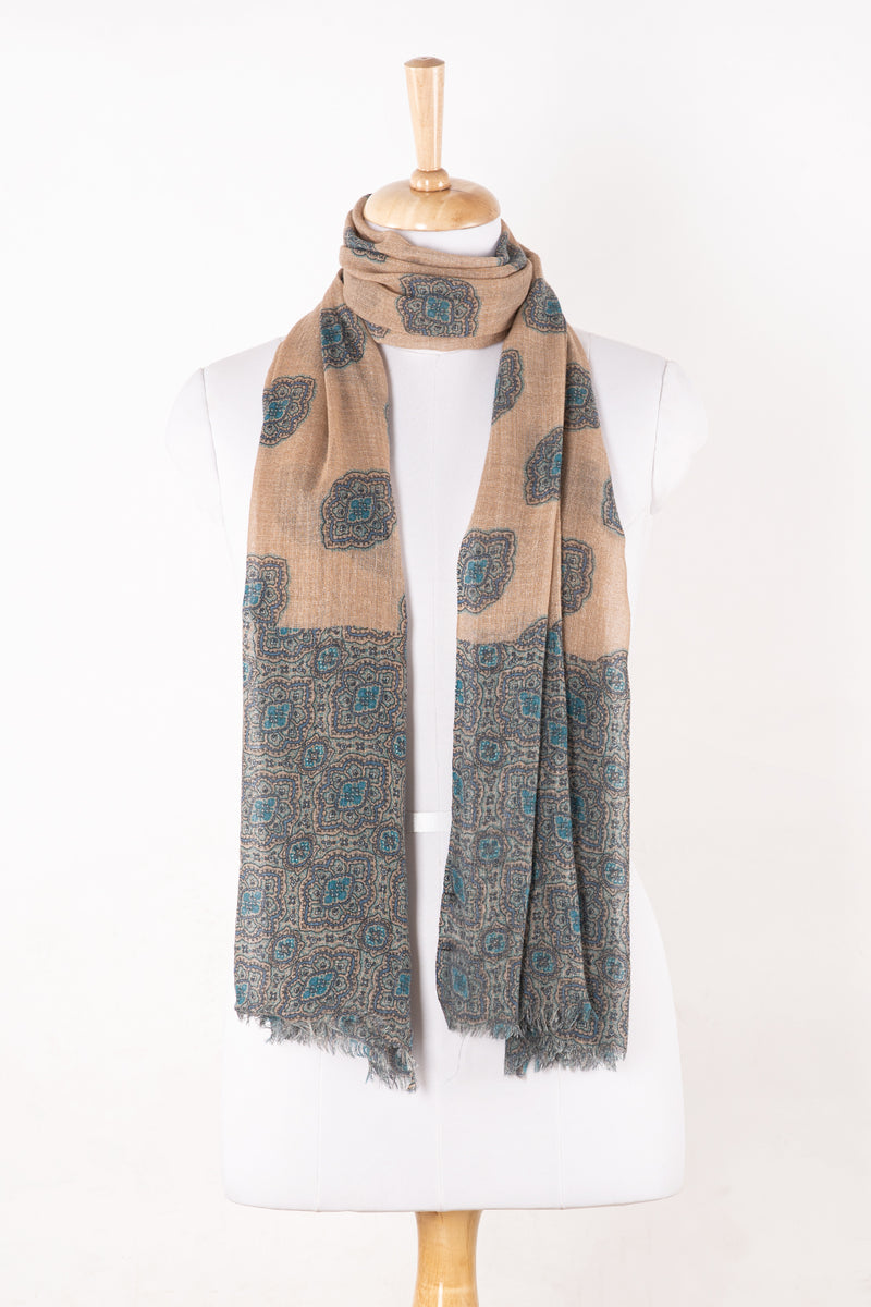 SVEZE Traditional Leaf Motif Print Merino Wool Scarf - Beige Teal - Alternate Drape