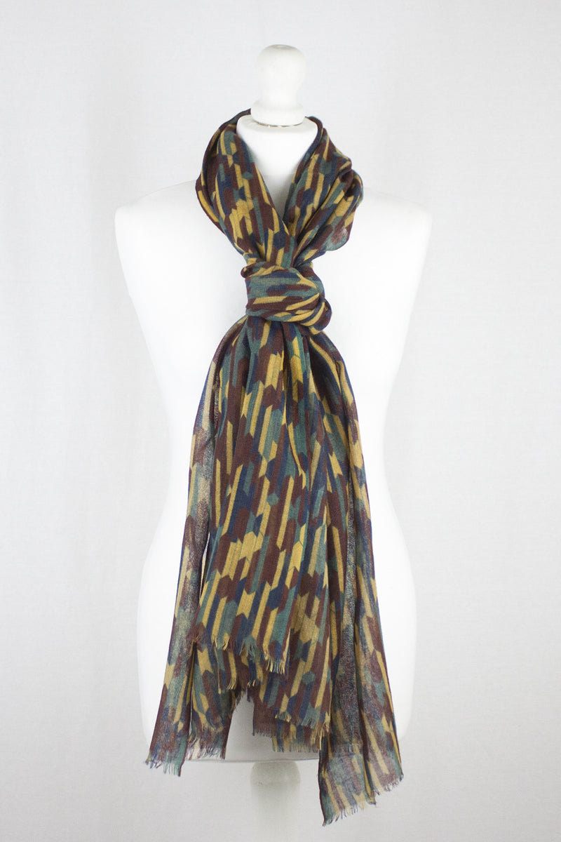 African Tribe Stripe Merino Wool Scarf - Brown Ochre Green