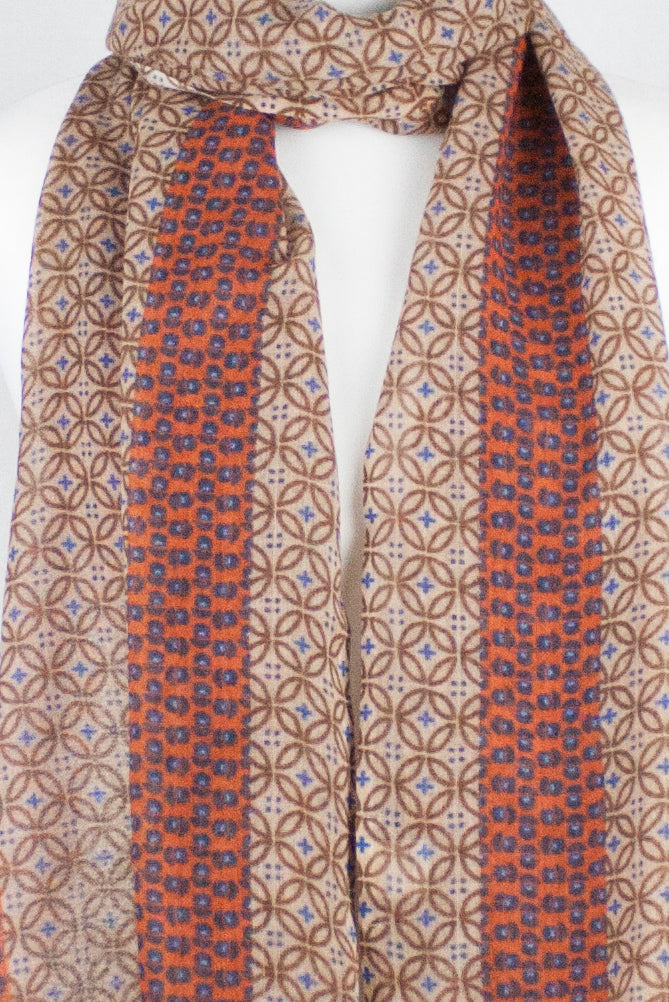 Geometric Print w/ Side Border Merino Wool Scarf - Gold Orange