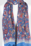 Paisley and Flower Spread Print Merino Wool Scarf - Blue Multi