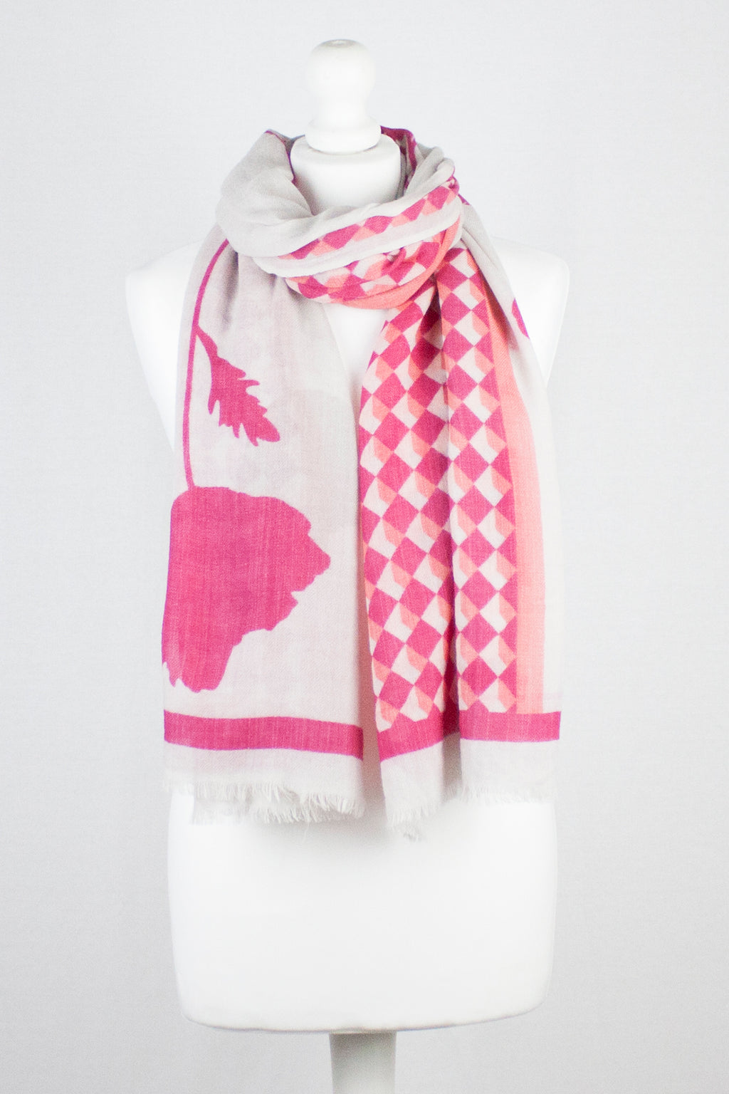 Flower and Diamond Print Merino Wool Scarf - Hot Pink Off White