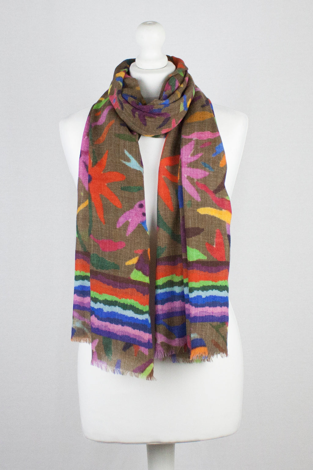Bright Life Print Merino Wool Scarf - Brown Multi
