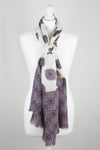Ethnic Print Merino Wool Scarf - Off-White