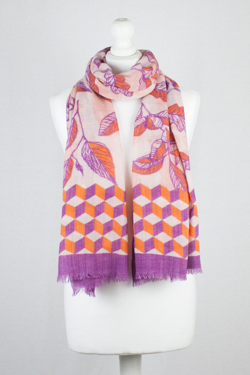 Autumn Leaf Print Merino Wool Scarf - Fuschia Orange