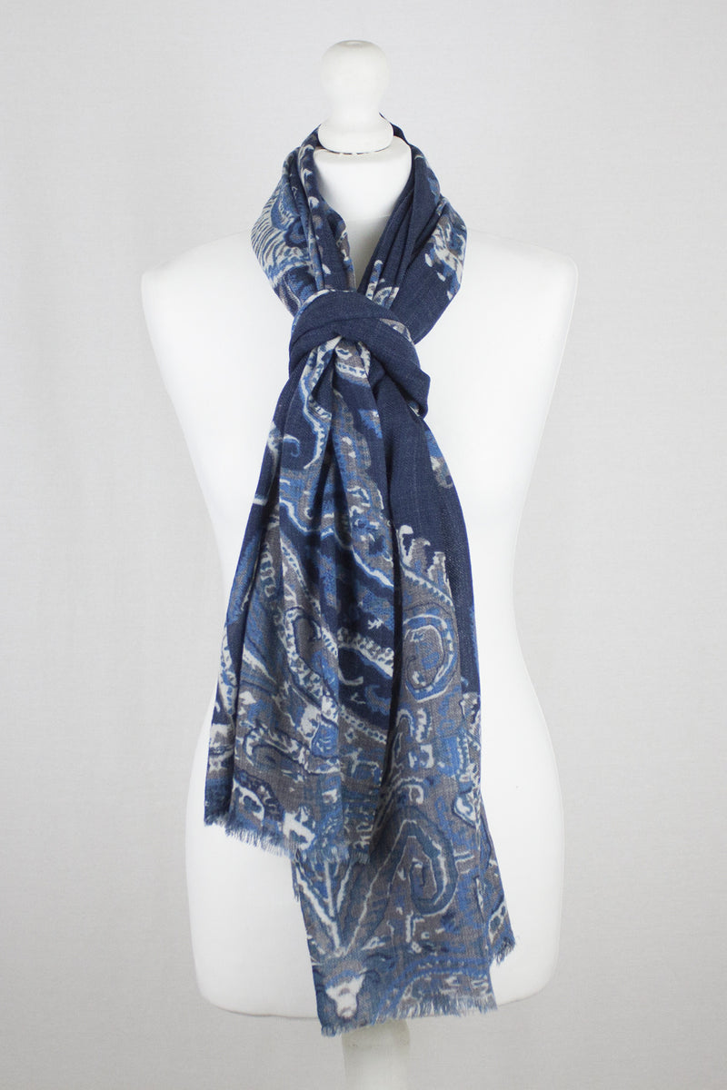 Persian Feather Merino Wool Scarf - Navy Multi