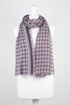 Diamond Tile Print w/ Border Merino Wool Scarf - Navy Plum