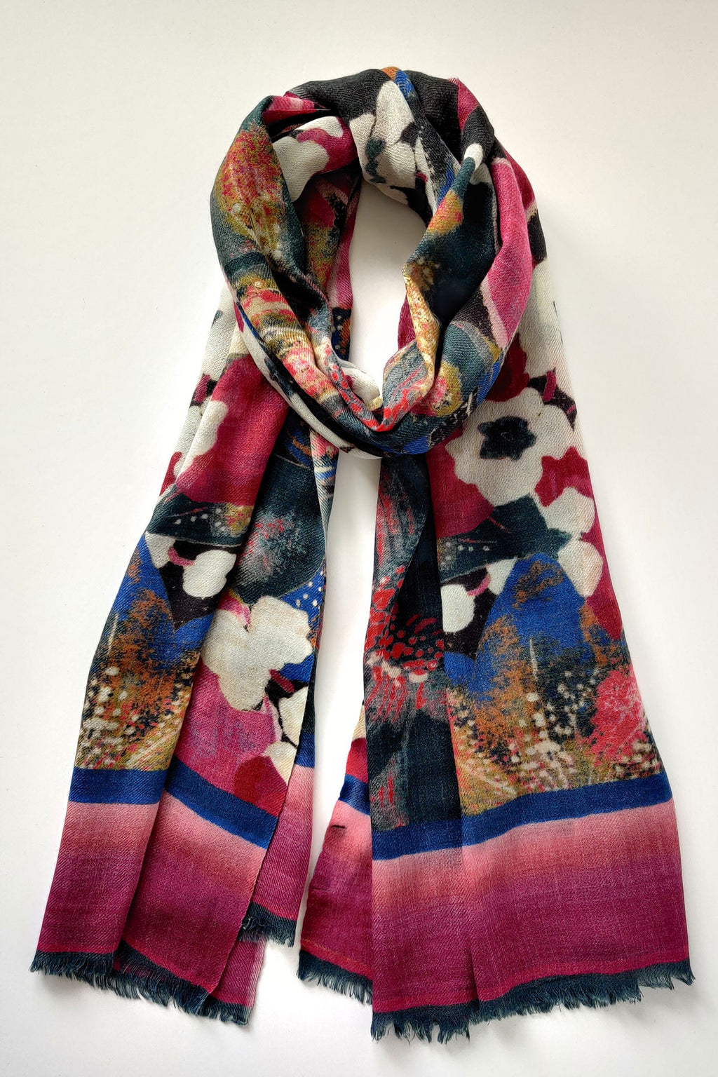 Blue Lily Bouquet Merino Wool Scarf - Navy Multi