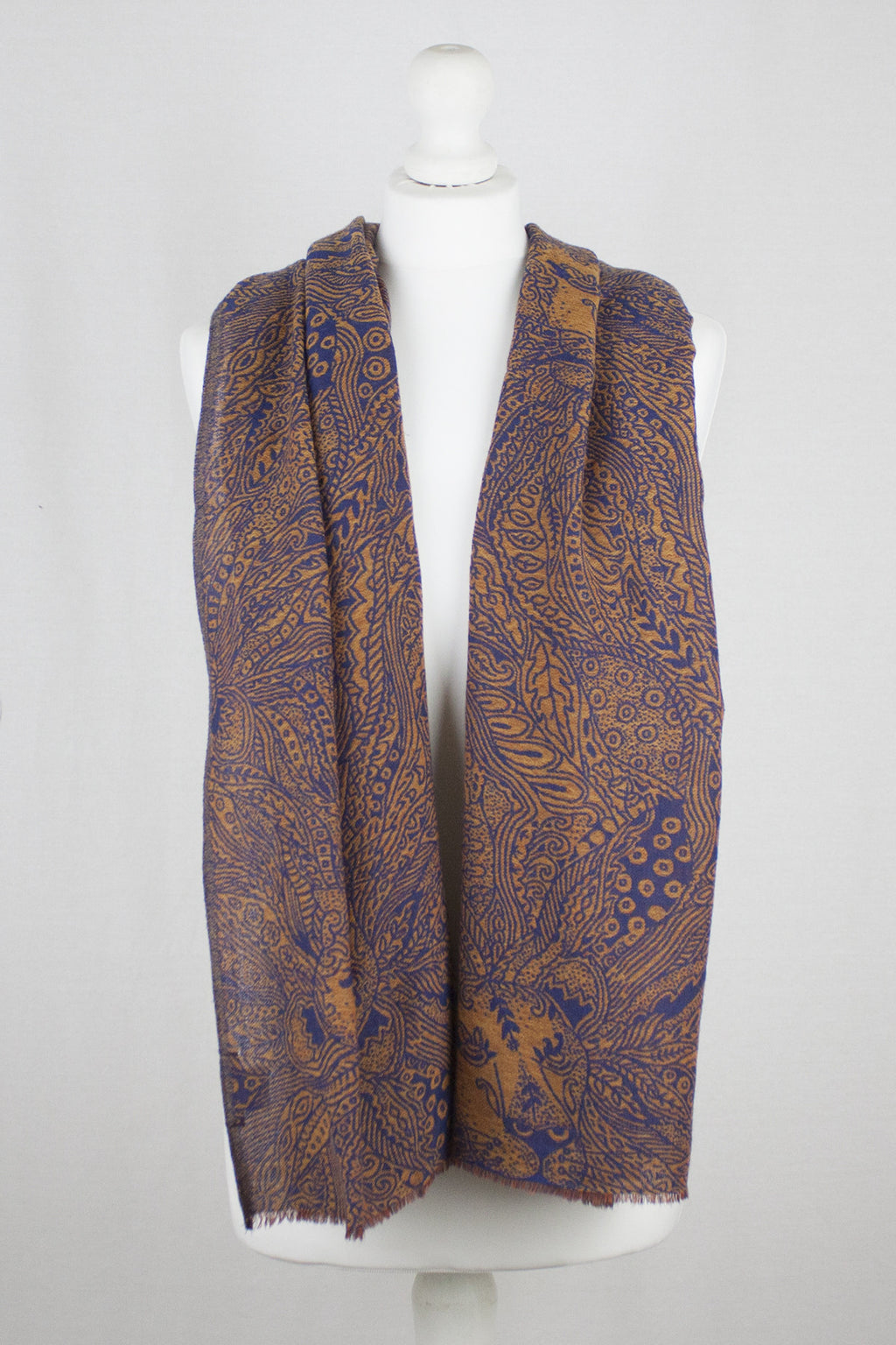 Dark Night Cheetah Jacquard Merino Wool Scarf - Navy Orange