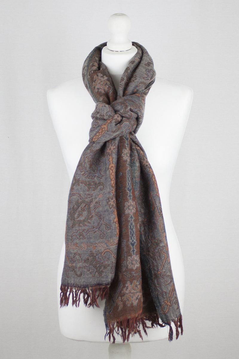 Jamdani Motif Jacquard Merino Wool Scarf - Grey Orange