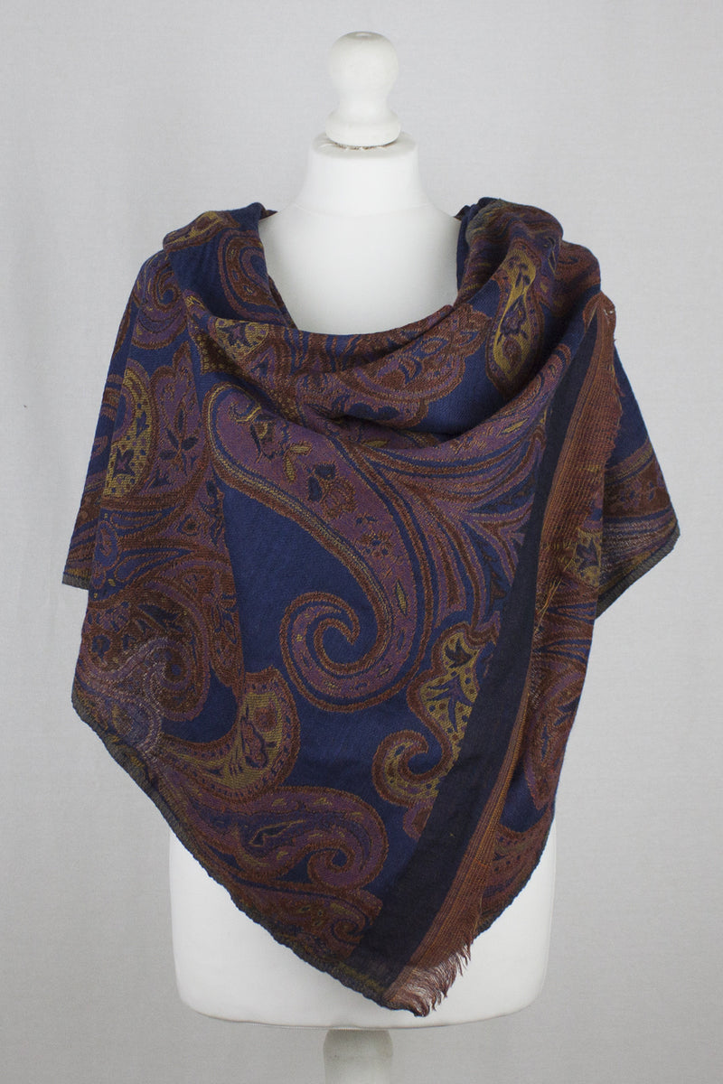 Flower and Paisley Jacquard Merino Wool Scarf - Navy Orange