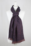 Dark Night Cheetah Jacquard Merino Wool Scarf - Navy Pink