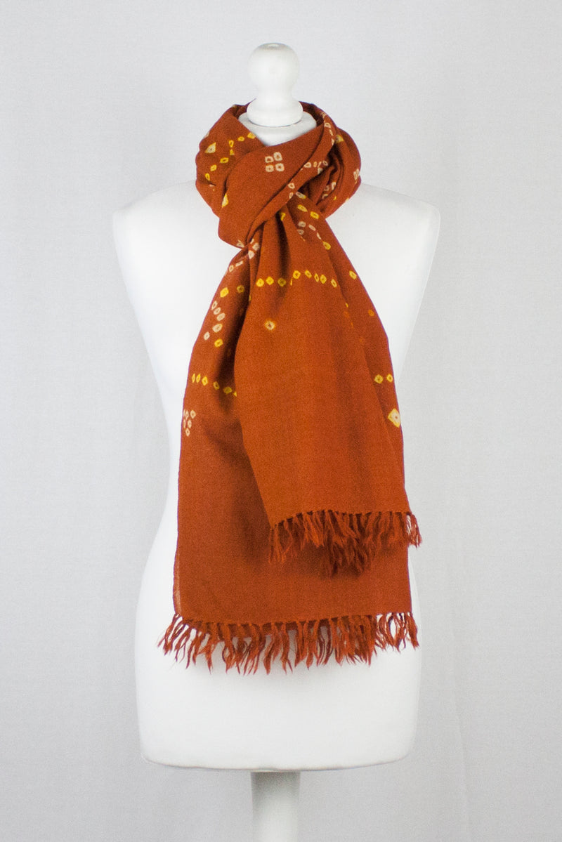 Bandhani Tie Dye Wool Scarf - Orange