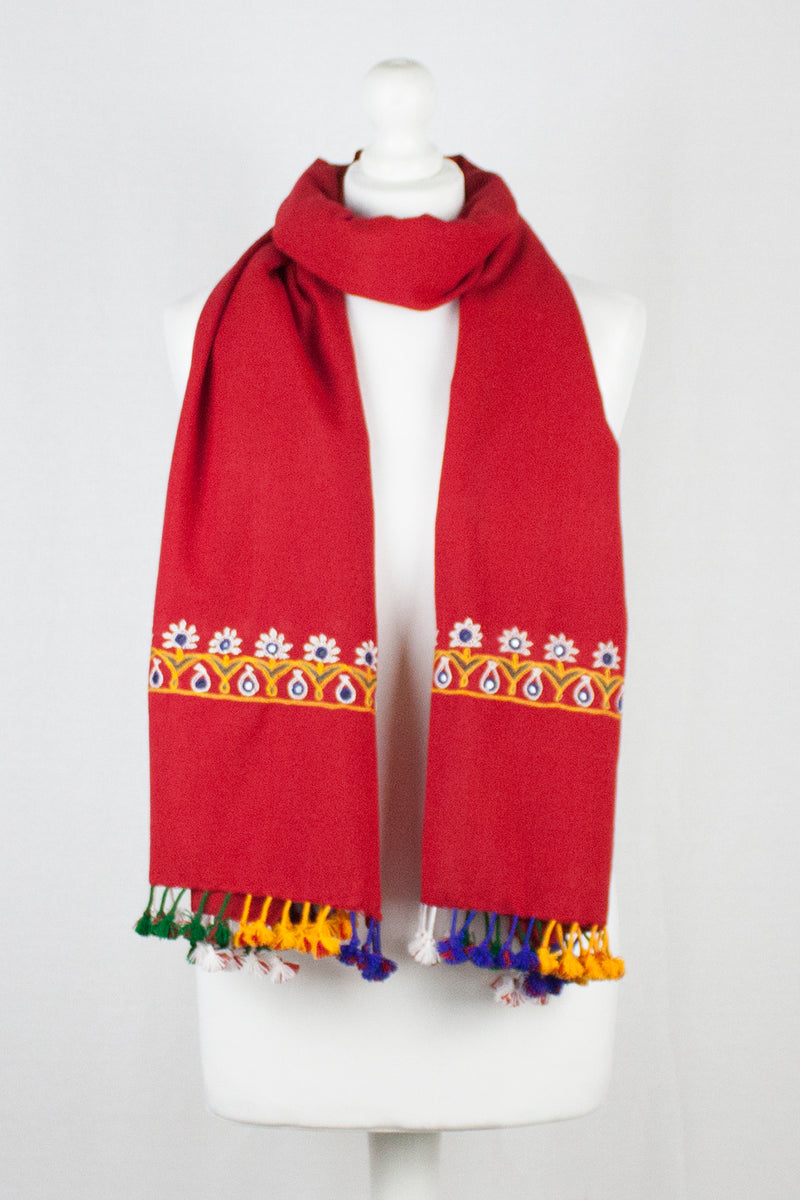 Ahir Embroidery Wool Scarf w/ Tassels - Red
