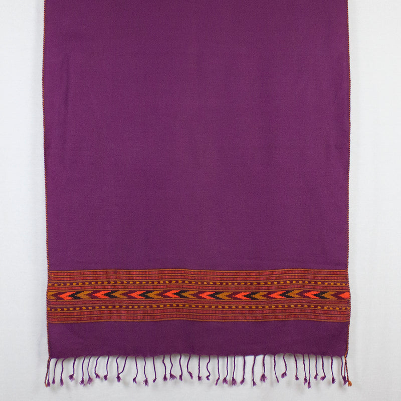 Diamond Weave Ikat Wool Scarf - Fuchsia