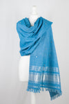 Mirror Work Lurex Border Wool Shawl - Turquoise