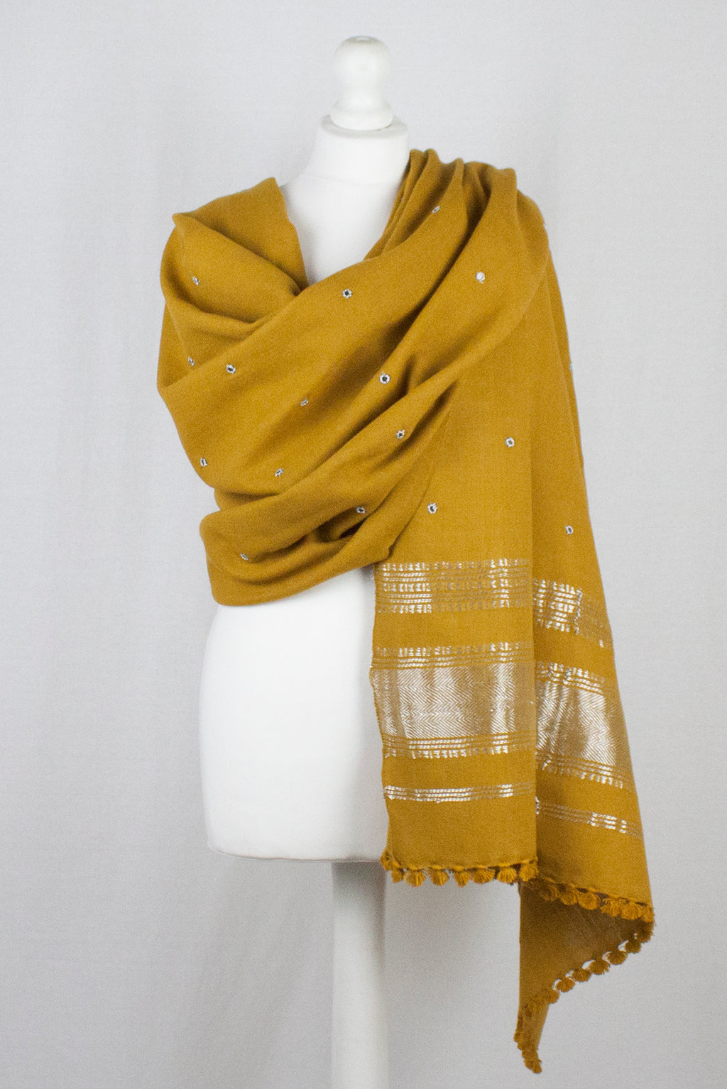 Mirror Work Lurex Border Wool Shawl - Mustard
