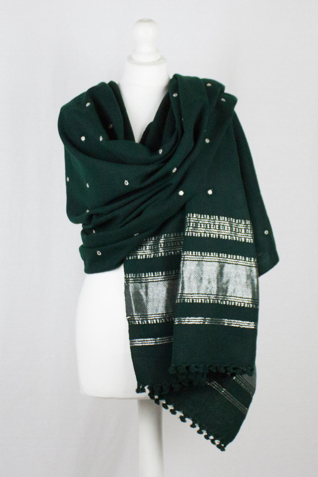 Mirror Work Lurex Border Wool Shawl - Bottle Green