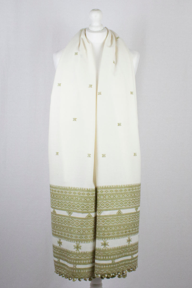 Booti and Border Embroidery Wool Shawl - Off White Sage Green