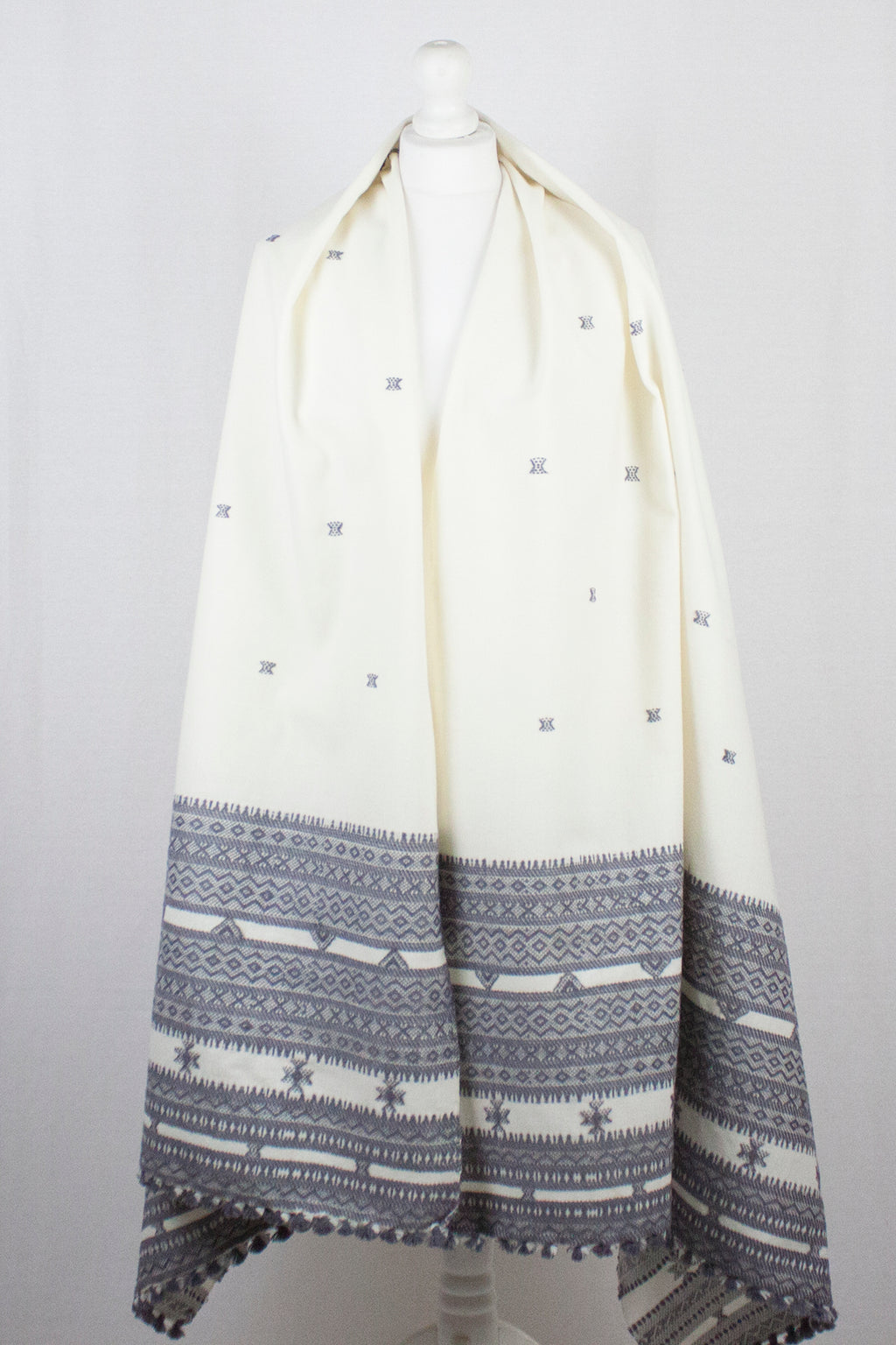 Booti and Border Embroidery Wool Shawl - Off White Grey